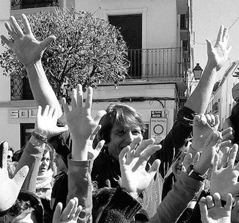 Arm, Finger, Hand, Wrist, Gesture, Celebrating, Crowd, Thumb, Cheering, Monochrome,