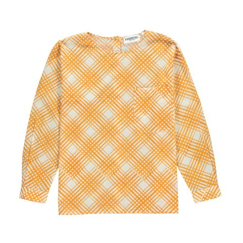 Clothing, Sleeve, Yellow, Orange, Pattern, Blouse, T-shirt, Outerwear, Design, Top,