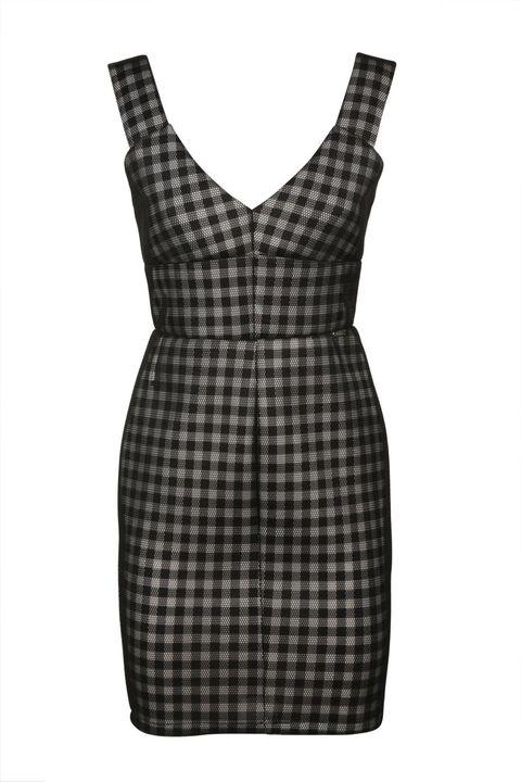 Clothing, Dress, Cocktail dress, Pattern, Black, Tartan, Day dress, Design, Plaid, Little black dress,