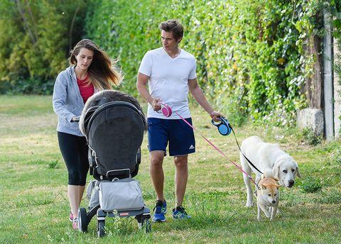 Walking, Canidae, Dog walking, Dog, Grass, Recreation, Leash, Leisure, Vacation, Sporting Group,