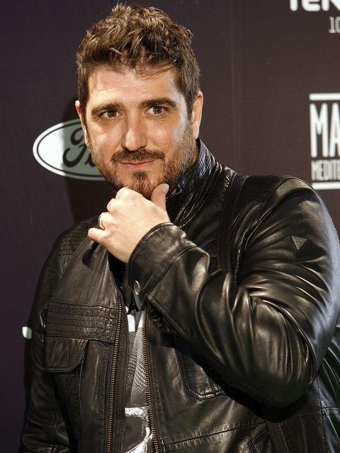Jacket, Facial hair, Leather, Leather jacket, Moustache, Beard, Zipper, Top, Glove, Pocket,