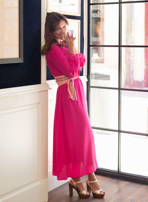 Shoulder, Dress, Magenta, Pink, Purple, Fixture, One-piece garment, Maroon, Day dress, Street fashion,