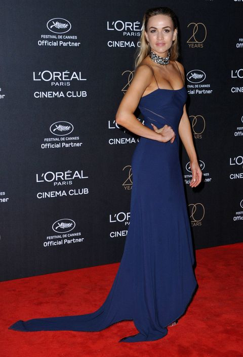 Dress, Clothing, Shoulder, Carpet, Red carpet, Gown, Strapless dress, Hairstyle, Premiere, Fashion,