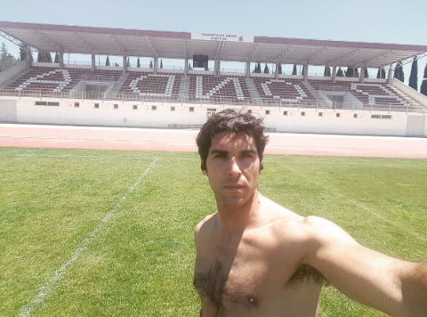 Grass, Sport venue, Barechested, Chest, Summer, Trunk, Muscle, Stadium, Abdomen, Black hair,