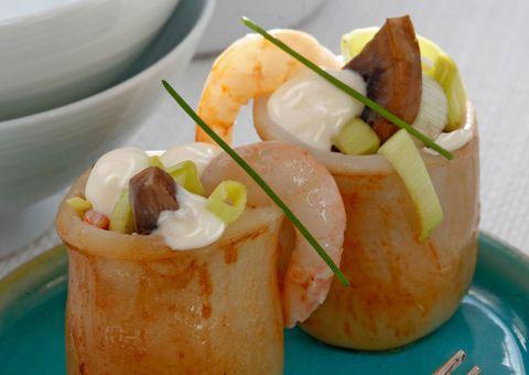 receta Calamares rellenos de gambas