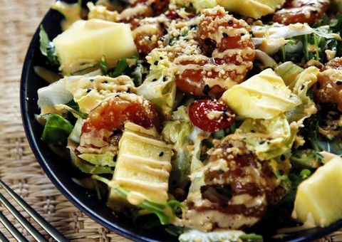 receta ensalada de piña y langostinos teriyaki