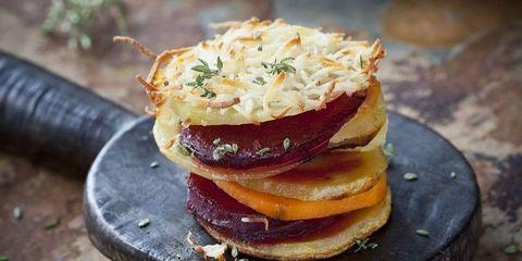 receta batata, patata y remolacha horneadas