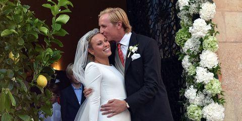 Photograph, Bride, Ceremony, Wedding dress, Wedding, Marriage, Facial expression, Bridal clothing, Event, Dress,
