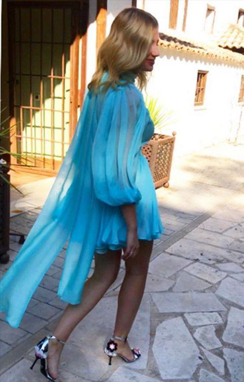 Clothing, Blue, Turquoise, Shoulder, Aqua, Street fashion, Electric blue, Dress, Cobalt blue, Fashion,