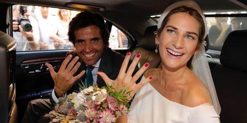 Luxury vehicle, Vehicle, Car, Event, Ceremony, Bouquet, Bride, Dress, Limousine, Wedding,