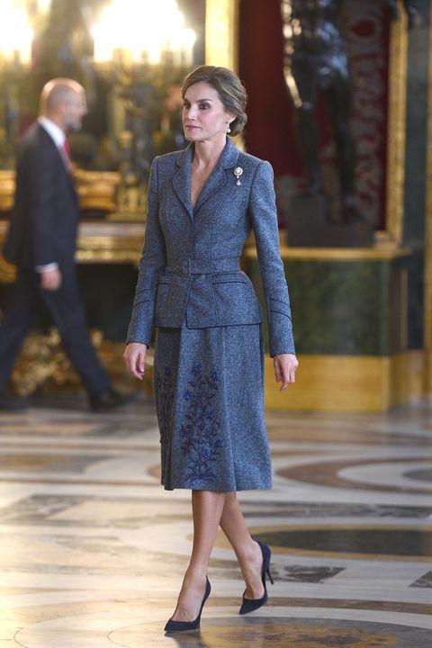 Clothing, Fashion, Fashion model, Suit, Dress, Cobalt blue, Formal wear, Haute couture, Fashion show, Coat,