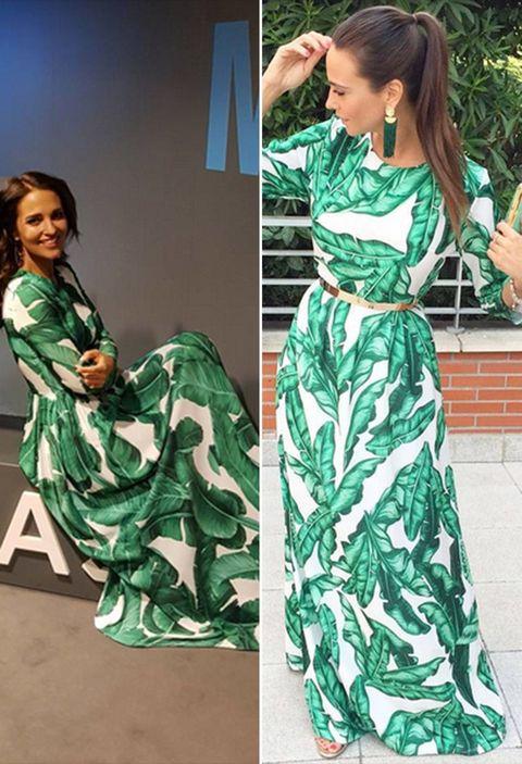 Clothing, Green, Fashion model, Dress, Fashion, Fashion design, Outerwear, Design, Pattern, Pattern,