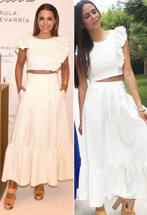 Clothing, White, Dress, Fashion, Shoulder, Crop top, Fashion model, Footwear, Formal wear, Design,
