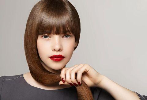 Hair, Face, Lip, Hairstyle, Bangs, Beauty, Chin, Skin, Brown hair, Long hair,
