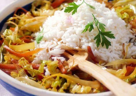 Receta Repollo salteado con arroz