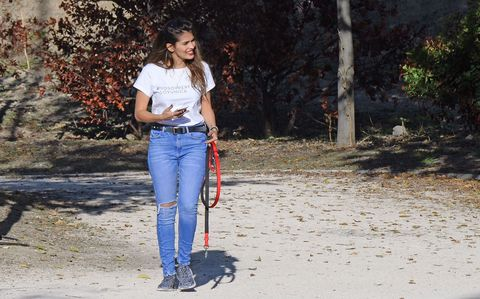 Jeans, Denim, Leash, Dog walking, Tree, Waist, Trousers, Textile, Walking, Companion dog,