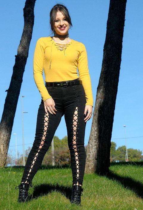 Clothing, Yellow, Thigh, Leg, Leggings, Tights, Fashion, Footwear, Jeans, Grass,