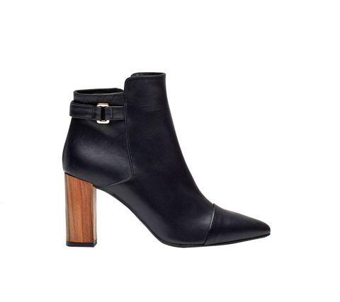 Footwear, Shoe, Boot, High heels, Leather, Buckle, Beige,