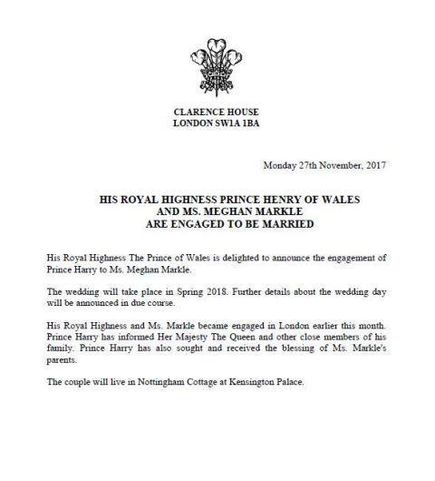 Comunicado oficial del compromiso del príncipe Harry y Meghan Markle