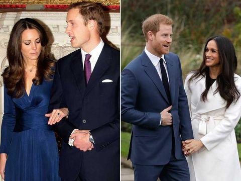 El príncipe Guillermo y Kate Middlton; y el príncipe Enrique y Meghan Markle en su pedida de mano
