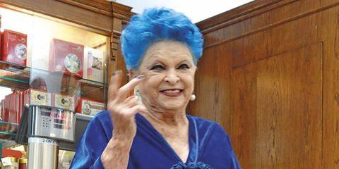 Hair, Blue, Cobalt blue, Electric blue, Wrinkle, Smile, Grandparent, Hair coloring,