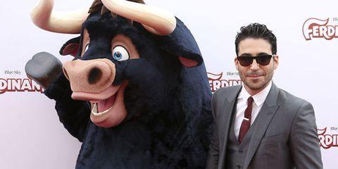 Snout, Bovine, Working animal, Animation, Mascot, Art, Bull, Glasses, Ear,