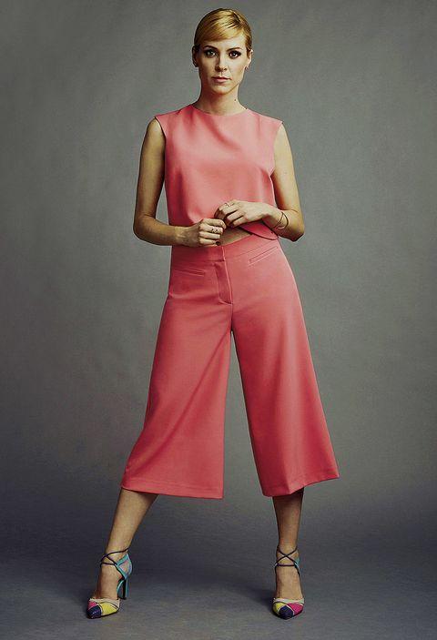 Fashion model, Clothing, Pink, Shoulder, Fashion, Dress, Photo shoot, Joint, Footwear, Neck,