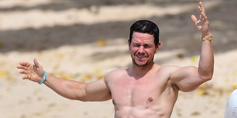 Barechested, Muscle, Arm, Fun, Chest, Chest hair, Happy, Gesture,