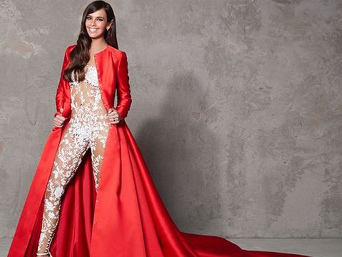Fashion model, Clothing, Gown, Dress, Formal wear, Red, Fashion, Satin, Haute couture, Silk,