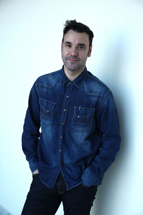 Blue, Denim, Jeans, Clothing, Standing, Fashion, Outerwear, Dress shirt, Cool, Sleeve,