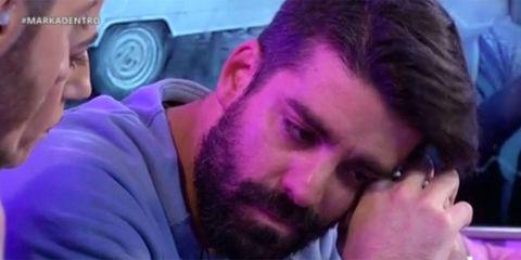 Hair, Face, Purple, Nose, Facial hair, Cheek, Beard, Mouth, Forehead, Violet,