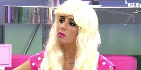 Hair, Blond, Pink, Lip, Beauty, Eyebrow, Hairstyle, Nose, Cheek, Long hair,