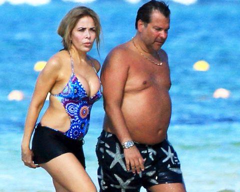Gloria Trevi y su marido en la playa de Tulum, en la Riviera Maya mexicana