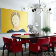 Room, Furniture, Table, Light fixture, Ceiling, Interior design, Houseplant, Kitchen & dining room table, Paint, Dining room,