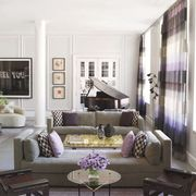 Interior design, Room, Living room, Furniture, Table, Wall, Home, Couch, Purple, Interior design,