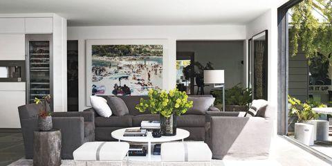 Interior design, Room, Flowerpot, Couch, Floor, Wall, Living room, Interior design, Fixture, Coffee table,