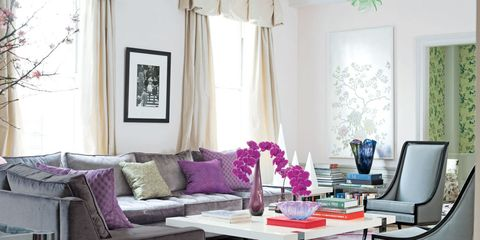 Blue, Interior design, Room, Living room, Table, Purple, Couch, Home, Furniture, Wall,