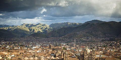 Elevated view over Cuzco and Plaza de Armas, Cuzco, Peru.