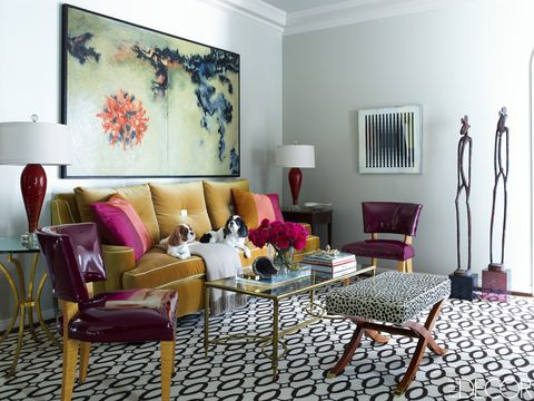 Room, Interior design, Furniture, Purple, Floor, Wall, Table, Living room, Home, Interior design,