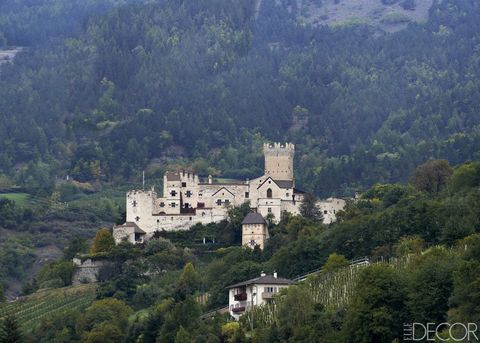 """<a target=""""_blank"""" href=""""http://www.elledecor.com/design-decorate/house-interiors/g2476/house-tour-historic-castle-in-italy/"""">Churburg Castle, the home of Johannes and Cecily Trapp</a>, is nestled in the Vinschgau Valley in Italy's Trentino–Alto Adige region and stands above the village of Schluderns."""
