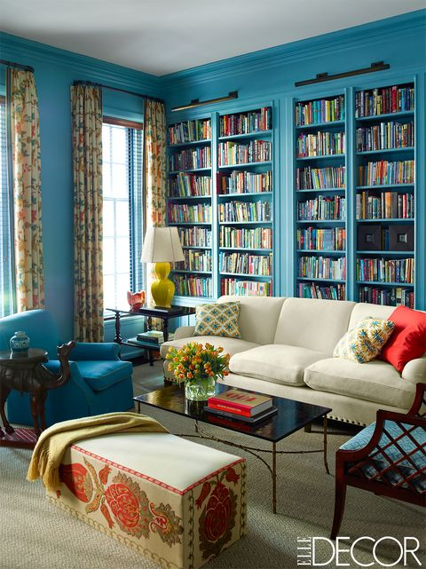 Living room, Room, Furniture, Interior design, Blue, Bookcase, Turquoise, Couch, Wall, Property,