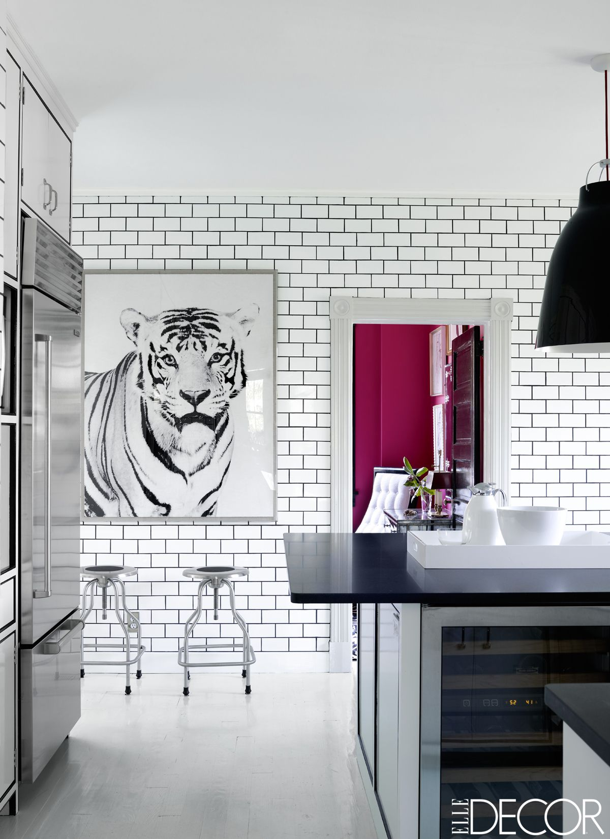wonderful Pink Room Themes Part - 15: black and white decor