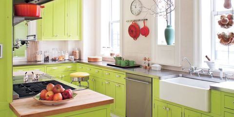 Red Accents Against Cabinetry Painted In Benjamin Moore S Bright Lime Make For A Surprising Though