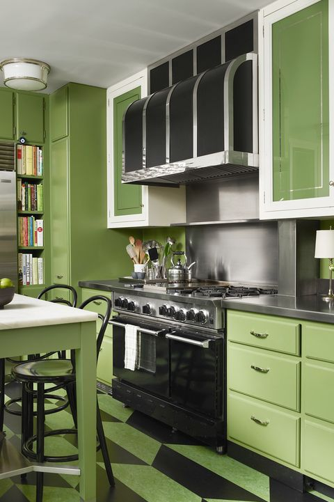 Countertop, Green, Cabinetry, Room, Kitchen, Furniture, Interior design, Property, Kitchen stove, Yellow,