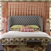 Room, Interior design, Brown, Bed, Green, Textile, Wall, Bedding, Linens, Furniture,