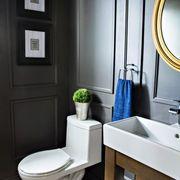 Plumbing fixture, Blue, Room, Bathroom sink, Property, Wall, Toilet seat, Tap, Toilet, Interior design,