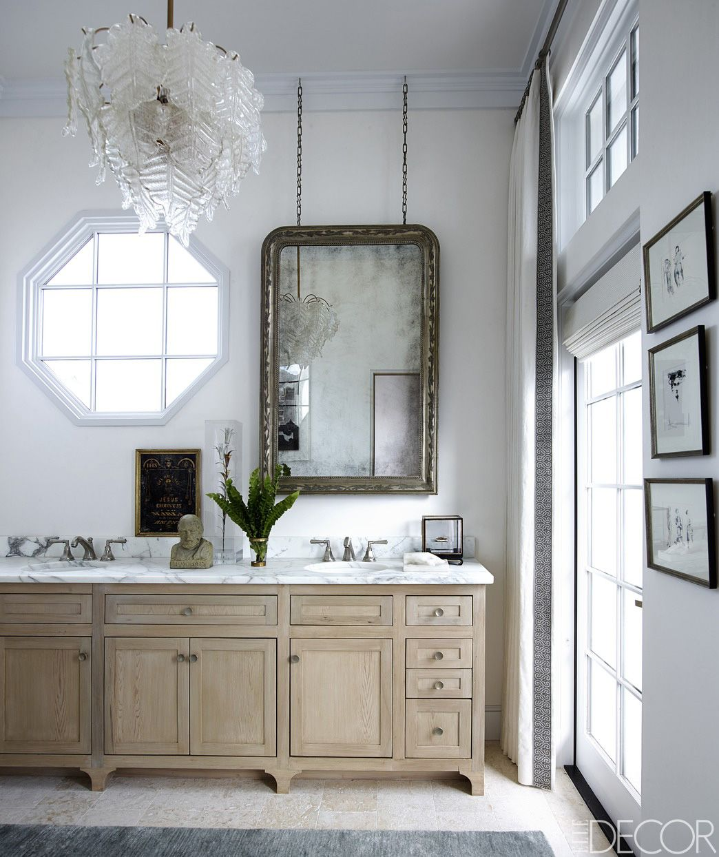 Custom Made Cabinetry, Sink Fittings By Rohl, And A Silver Leafed Mirror