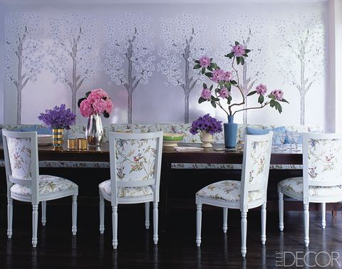 Fashion Designer Cynthia Rowley Created A Wallpaper Of Stylized Cherry Blossom Trees To Cover The Walls Her Dining Room In Manhattans West