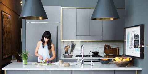 Lighting, Room, Bar stool, Table, Lampshade, Interior design, Furniture, Countertop, Interior design, Cook,