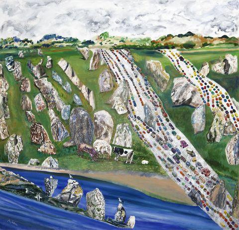 Landscape, Art, Urban design, Painting, Illustration, Paint, Drawing, Artwork, Visual arts, Art paint,